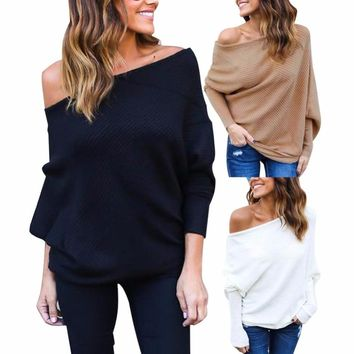 Off Shoulder Solid Sweaters  Batwing Sleeve