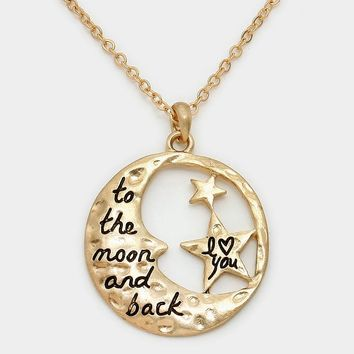 """""""I Heart You To The Moon And Back"""" Crescent Star Necklace"""