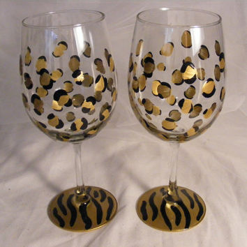 painted gold leopard and zebra wine glasses