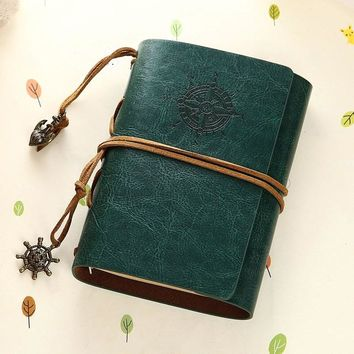 Vintage Notebook Leather Cover Journal Diary Blank String Nautical Traveler book office school supplies ON029