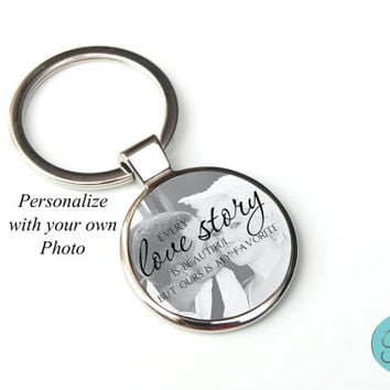 Photo Quote Key chain Love, Wedding Key chain. Personalized wedding gift photo anniversary gift