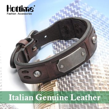 Hottime Italian Genuine Leather Vintage Bracelet Bangle Punk Men's Fashion Jewelry Fashionable Accessories PG009