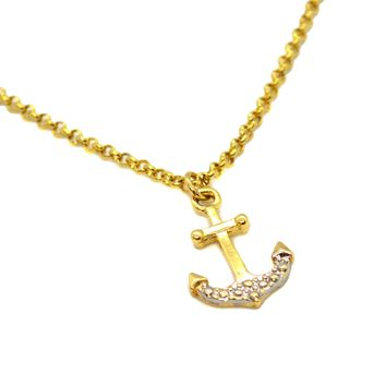 """(ank-830-h8-1) Gold Filled Anchor Charm Anklet, 10""""."""