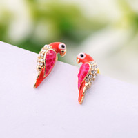 Lovely Parrot Rhinestone Earrings 051891