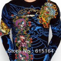 Hot Sell Brand Men's ED Hardy T Shirt Blue /Black Print Manly Fashion Shirt Casual Hip hop Long Sleeve T-shirts Cheap Sale