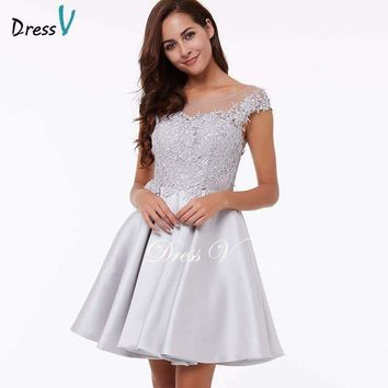 Dress Homecoming Dress Peach A Line Mini Appliques Cocktail Party Dress Above Knee Gray Short Lace Homecoming Dress