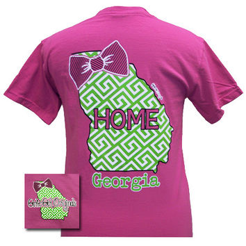 Girlie Girl Originals Georgia Preppy State Bow Comfort Colors Bright T Shirt
