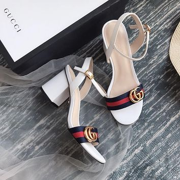 Gucci GG Women White Leather With Thong Web Mid-heel Sandals