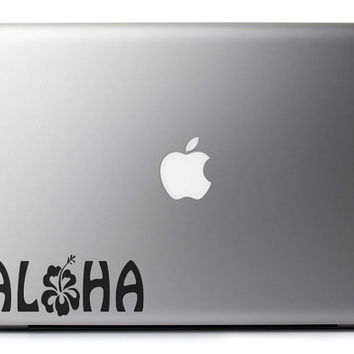 Aloha Hibiscus Vinyl Decal for MacBook / Laptop / Gadget Many Sizes & Colors Free USA Shipping