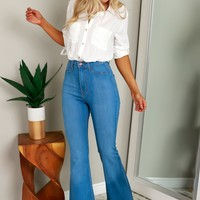 High Waisted Flare Jeans Medium