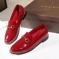 GUCCI Popular Women Casual Pure Red Metal Buckle Leather Single Shoes I-ALS-XZ