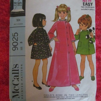 Spring Fever Sale 1960's McCall's Sewing Pattern, 9025! Size 5, Girls/Toddlers, Aline Dresses, Robes, Long & Short, 4 Seasons, Rain Jacket S