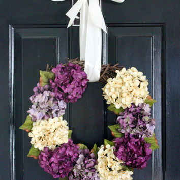 Hydrangea Wreath, Christmas Flower Wreath, Front Door Wreath, Monogram Wreath, Dried Flower Wreath, Home Decor, Christmas Wreath, Holiday