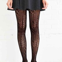 Multi-Marled Pointelle Tight- Black