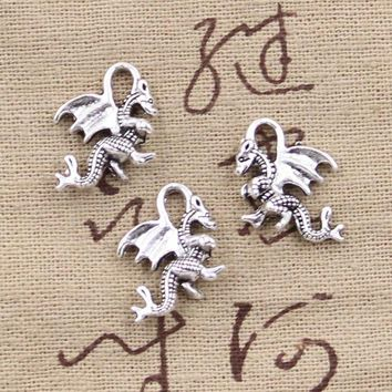 DCCKFV3 99Cents 10pcs Charms dragon 21*14mm Antique Making pendant fit,Vintage Tibetan Silver,DIY bracelet necklace
