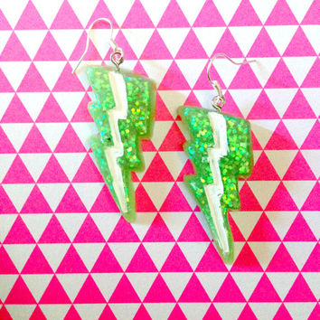 Bright Green Glitter Lightning Bolt Earrings//Geekery Jewelry//Stocking Stuffers//Cyber Monday//Gift Ideas For Her