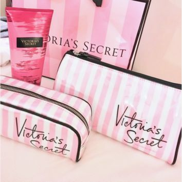 Victoria's Secret women fashion pink stripe makeup bag