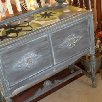Vintage Mini Buffet in Confederate Gray with a White Wash and Glass Knobs
