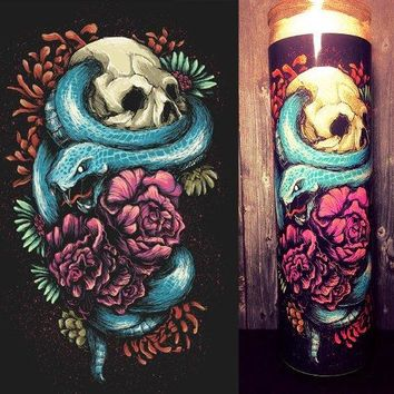 Tattoo Art, Tattoo Decor, Tattoo, Scented Candle, Skull Decor, Skull Art,  Gift Idea, Gifts for Him, Gifts for Her, Best Scented Candles,