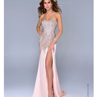 Nina Canacci NC-9004 Peach Satin & Beaded Strapless Sweetheart Gown 2015 Prom Dresses