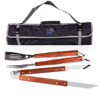 Memphis Tigers 3-Pc BBQ Tote & Tools Set-Black Digital Print