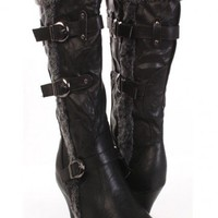 Black Buckle Strap Decor Faux Leather Crinkle Faux Fur Lining Mid Calf Heel Boot @ Amiclubwear Boots Catalog:women's winter boots,leather thigh high boots,black platform knee high boots,over the knee boots,Go Go boots,cowgirl boots,gladiator boots,womens
