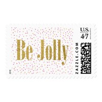 Gold Be Jolly Confetti Christmas Stamp