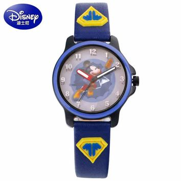 New Mickey mouse Superman waterproof watch clever boy girl love wristwatch Student young sports DISNEY brand 100% genuine clock