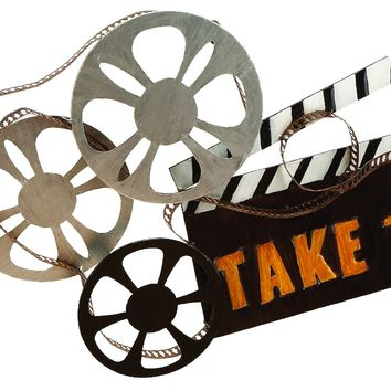 Metal Take One Movie Camera Wall Art decor Sculpture