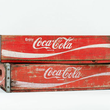 Pair Vintage Wooden Coke Crates