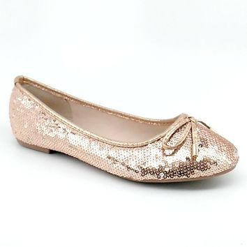 Women's Rosegold Sequin Flats with Bow Detail