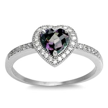 Sterling Silver Halo Rainbow Mystic Topaz CZ Heart Engagement Ring size 4-10