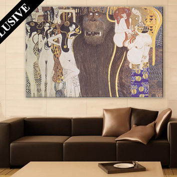 Gustav Klimt - Beethoven Frieze 1902 Wall Art Large Painting on Canvas Print Painting Reproduction Home Decor Art Nouveau Abstract Painting