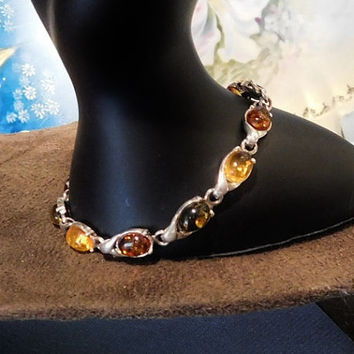 Vintage Baltic Amber Bracelet Sterling Silver Link Genuine Natural Multi Color Baltic Honey Amber Bracelet Wedding Mothers Day Gift Ideas