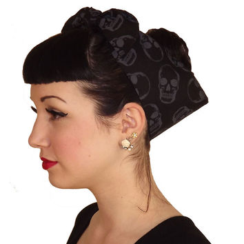 Black Skull Fabric Head Wrap Scarf