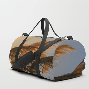 Sunset in autumn. Pampa grass Duffle Bag by vanessagf