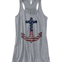 Women's American Anchor II Tank Top | July 4th Shirts Tank Tops | American Flag Shirts | American Flag Tank Tops | Navy Wife Anchor Shirt