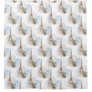 Paris Vintage Blue Hydrangeas Shower Curtain