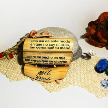 Three wood twigs - Pablo Neruda pendant - Wooden twigs pendant necklace - Love song printed on the wood twigs - pendant handmade wooden gift