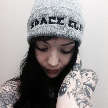 Space Elf Grace Neutral Beanie grey russian prision writing