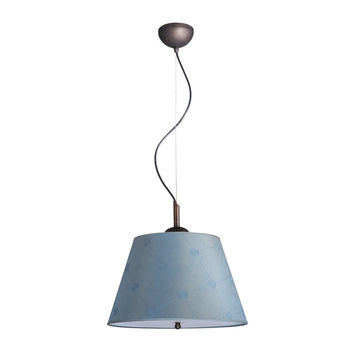 0-010558>Gold-laced Cafe Pendant Light with Blue Barrel Shade and Diffuser