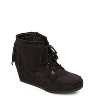 Faux Suede Moccasin Wedge Bootie