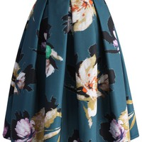 Floral Illusion Pleated Skirt in Teal