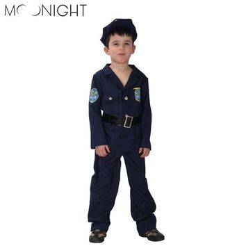 MOONIGHT 4 Pcs Children's Halloween Police Carnival Costumes Boys Police Kids Cosplay Game Uniforms