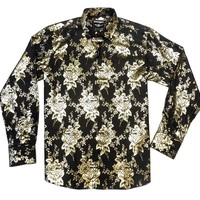 Barabas Golden Floral Denim Button Up Shirt