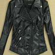 Black Notched Collar with Pyramid Stud Accent Leather Jacket