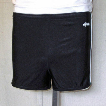 Vintage 80's DOLFIN SPRINTER Running Athletic Black Lined SHORTS - Size Small to Medium
