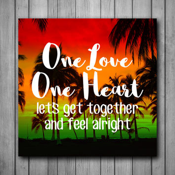 One Love One Heart Bob Marley Beach Art Background Photo Panel - Durable Finish - High Definition - High Gloss