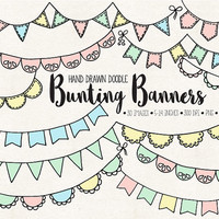 ON SALE. Bunting Banner Clip Art. Doodle Flag Banners. Hand Drawn Party Garland Clipart. Mint, Pink Birthday, Baby Shower, Wedding Bunting.
