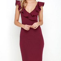 Ready to Ruffle Wine Red Midi Dress